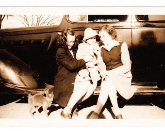 vintage Photo Leggy Ladies Little Girl Pet Cat Kitten Kitty 1930s Snapshot