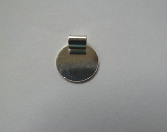 20 or 50 Small Tube Disk Pendant Bail With a Flat Pad Silver Plated S/P