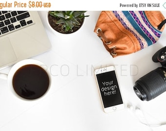 CLEARANCE SALE Styled Stock Photography, white desk with notebook, bag, iPhone notebook, web design background, blogger image, social media