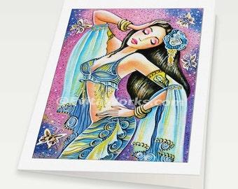 Belly dancer painting, dancing woman, belly dance art, mermaid art bollywood dance, Indian woman card, woman card, 6x8