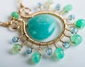 Reserved for Leta - Amalie Necklace: Gemstone Starburst Pendant w/ Amazonite, Chrysoprase, London Blue Topaz, Aqua, Green, Bright, Intr