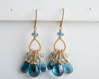 Olivia: Teal Gemstone on Coiled Tassel Earrings, London Blue Topaz, Kyanite, Gold, AAA Gemstone, Bright, Sparkling