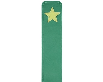 20% off sale Mally Leather Superstar Bookmark Page Marker, Lime Green Star on Dark Green