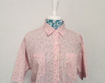 vintage pink blouse // striped slouch top // 1980's 80's floral shirt by Licorice