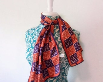 50% off storewide SALE vintage Vera scarf red white and blue // long geometric print