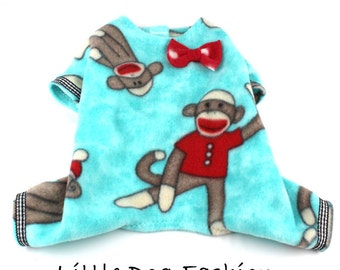 Dog Pajamas, Dog Fleece Pajamas, Pajamas for Small Dog, Dog Pjs, Custom Dog Clothes, Blue, Monkeys