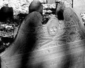 "Cemetary Photography, Black and White, Gravestone, Skull & Crossbones, New England, 5x7. ""Memento Mori, No.1""."