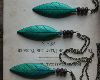 The Green Man Necklace. Rustic Bohemian Tribal Vintage Carved Wood Leaf and Obsidian Pendant Necklace.