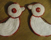 Vintage Crocheted Baby Chicken or Duck Potholders - Set of 2 - Cute!