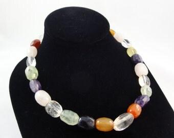 "Gemstone Necklace- Chunky MultiColor Gemstone Beaded Necklace, Semi Precious Stone Beads Faceted Amethyst Quartz, 18"" Long, Handmade Jewelry"