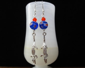 Florida Gators Earrings- Sterling Silver Orange & Blue Millefiori Bead Alligator Charms- Dangle Earrings- University of Florida Jewelry