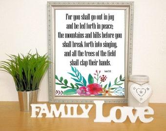 Watercolor Floral Printable,  Printable Bible Verse, Digital Download Print, Watercolor Art, Spring Wall Decor, Isaiah 55:12