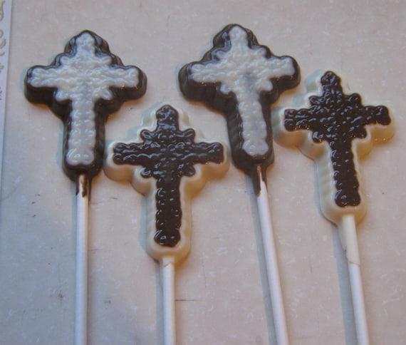 One dozen filigree cross sucker lollipop party favors