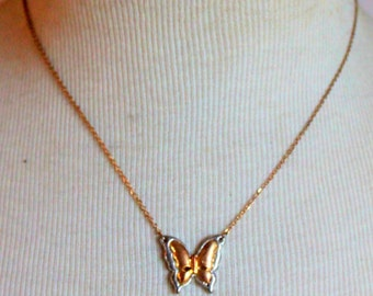 Vintage Necklace Mixed Metal Butterfly Gold Silver