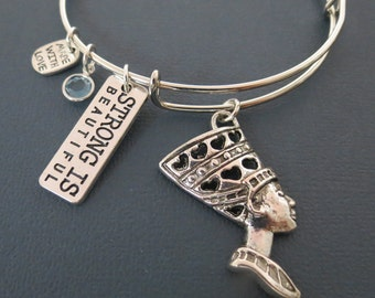 Nefertiti Bangle,Queen of Egypt Charm Bracelet, Expandable Bangle with Charms, Swarovski Birthstone Jewelry, Silver Bangle