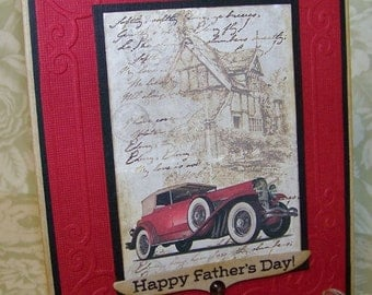 Fathers Day Card Happy Fathers Day Vintage Style Vintage Car Card