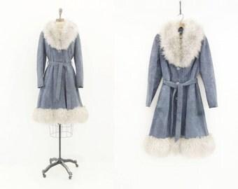 Vintage Suede Coat 70s Fur Collar Coat Boho Fur Suede Coat Mongolian Lamb Denim Blue Gray Coat 70s Boho Suede Coat 1970s Suede Coat m