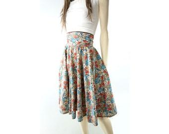 70s Does 50s Skirt Full Floral Skirt High Waisted Skirt Vintage Midi Skirt Boho Skirt Peasant Skirt Prairie Skirt Extra High Waist xs s