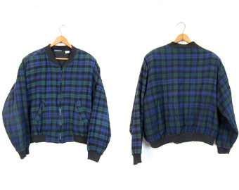 Vintage 80s Plaid Jacket Zip Up Flannel Jacket Slouchy Green Purple Black Coat Preppy Grunge Cropped Jacket School Girl Dells Medium Large