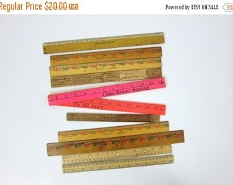 vintage rulers / instant collection of One Foot 12 inch wooden rulers with Advertising Louanne's Estate Sale