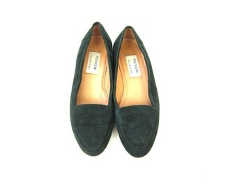 Vintage Green Suede Leather Slip On Shoes Fabric Slides Modern Slippers Women's Shoes Leather Flats Size 8.5