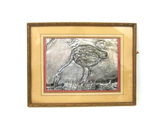 Vintage Folk Art Ostrich Bird Art Wall Hanging Picture Etched Punched Tin Metal Artist Framed Childlike