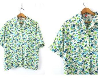 Flower Print Shirt Button Up summer shirt Floral Flower Gardening Preppy Retro Shirt Blue Green Vintage women's size 42 large XL