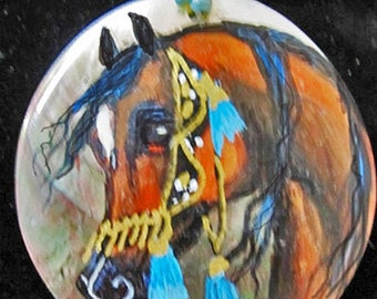 Arabian Horse Art hand painted mother of pearl necklace  bay 9