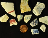 Vintage Porcelain, Pottery and Fine China Patterned Beach Glass - 11 pieces