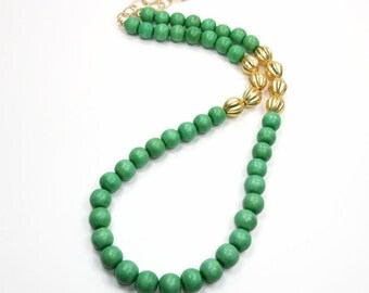 Green And Gold Necklace - Green Matte Gold Beaded Necklace - Statement Necklace - Bib Necklace - Layer Emerald Chunky Necklace