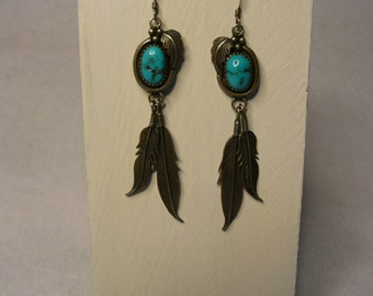 Old Pawn Native American Turrqoise and Sterling Silver Feather Earrings