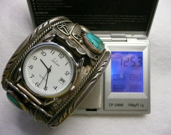 SPECIAL   Native American Sterling Silver Cuff Watch with Turquoise
