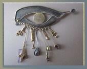 EXQUISITE-Artisan Eye of Horus Brooch,Sterling Silver Gold Overlay Gemstones/Crystal Fringe,Egyptian Revival,Gift,Vintage Jewelry,Women
