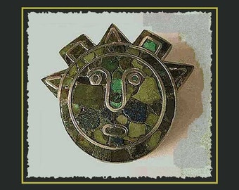 I Love Your FUNNY Face,Mexian Mosaic Inlay Droll Face Pin,Sterling Silver,Folkloric Brooch,1940s,Vintage Jewelry,Unisex
