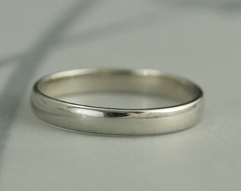 Women's Wedding Band--White Gold Band--10K Gold Band--Traditional Wedding Band--3mm Plain Jane Ring--Low Profile Half Round Band--Handmade