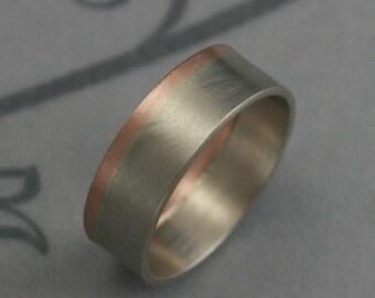 Modern Two Tone Band--Men's Modern Ring--Rose and White Gold Ring--Men's Gold Band--Men's Modern Band--Men's Gold Ring--Two Tone Ring