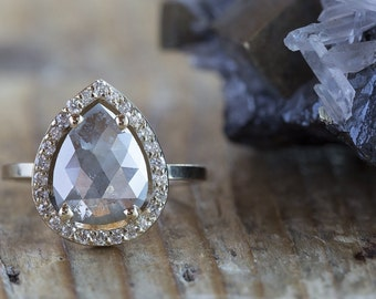 Natural Grey Rose Cut Diamond Ring with Pave Halo