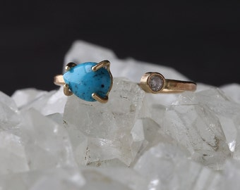 Turquoise + Diamond Open Cuff Ring