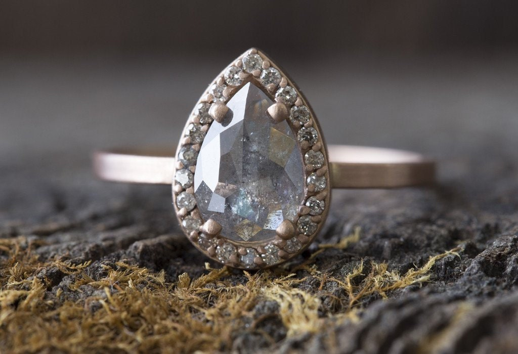 Custom Natural Rose Cut Silver Grey Diamond Engagement Ring
