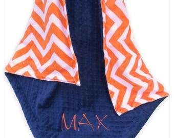 ON SALE Orange Chevron with Navy Minky Dot Baby Blanket, Orange and Navy Baby Blanket, Can Be Personalized