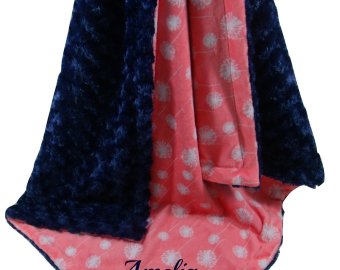 Coral Dandelion and Navy Swirl Minky Baby Blanket, Navy and Coral Baby Blanket, available in three sizes