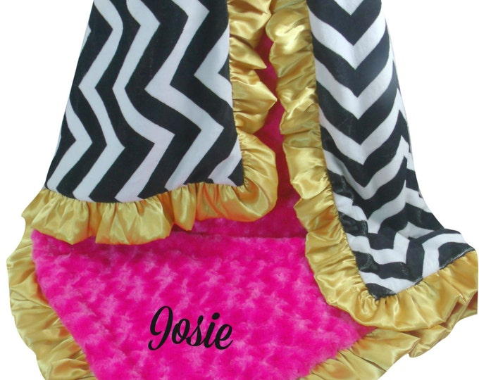 Pink Gold and Black Chevron Minky Baby Blanket