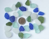 30 assorted Pcs Beach Combed Sea Glass in Cobalt blue, Olive, Seafoam and White