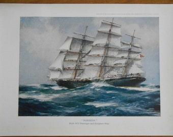 Nautical Art, Vintage 1940s Clipper Ship, Sailing Ship Torrens, wall art, nautical decor