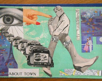 ABOUT TOWN, Original Collage Art on recycled book cover, handmade art, Surreal City Scene