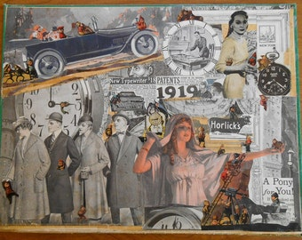 Goddess of Gremlins, Original Collage Art on Large vintage book cover, OOAK, made from recycled materials