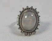 Beautiful Rainbow Moonstone and Silver Ring, Size 7.5