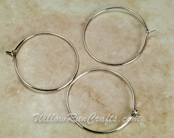 Set of 100 Silver Wine Charm Rings 25mm for wine charms, earring hoops (07-13-192)