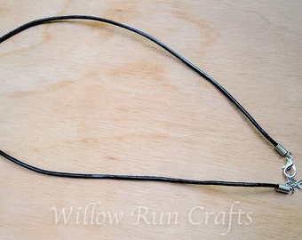 35 Black Leather Necklaces 18 inch with extender (16-86-424)