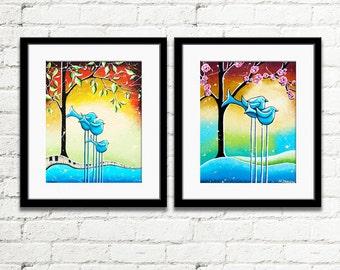 Set of 2 Prints, Bird Art Prints, Whimsical Animal Art, Nursery Wall Art, Kids Room Art, Cute Wall Decor